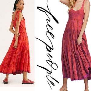 FREE PEOPLE Kikas printed midi dress tangerine XS